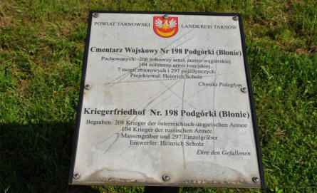 A sign at the Podgorki Blonie World War I Cemetery.