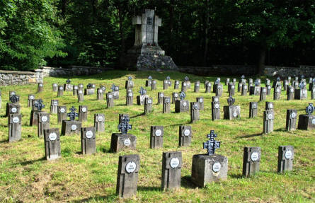 Some of the many World War I war graves at the Podgorki Blonie World War I Cemetery.