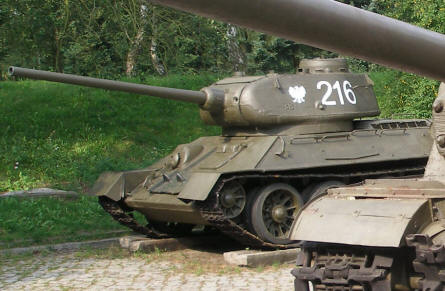 A classic World War II T-34 tank displayed at the Poznan Army Museum.