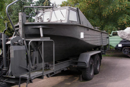 A military power boat displayed at the Poznan Army Museum.