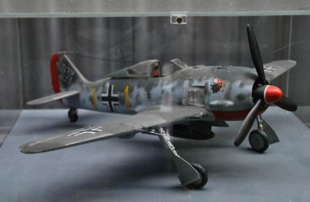 A scale model of a German World War II Focke_Wulf FW-190 fighter displayed at the Museum of Aviation in Košice.