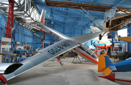 One of the many gliders displayed at the Museum of Aviation in Košice.