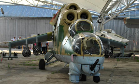 A modern Russian built Mi-24 Hind attack helicopter displayed at the Museum of Aviation in Košice.