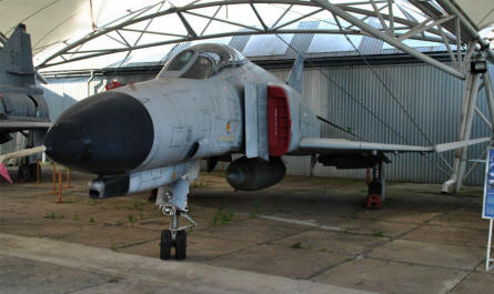 "A classic American ""Cold War"" F-4 Phantom jet fighter displayed at the Museum of Aviation in Košice."