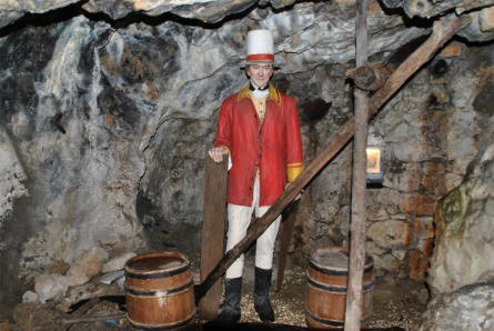 One of the many full-size figures inside the Great Siege Tunnels of Gibraltar.
