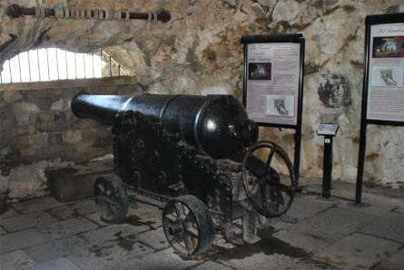 A vintage canon inside the Great Siege Tunnels of Gibraltar.
