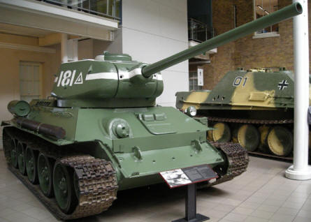 Russian World War II T-34 tank at the Imperial War Museum in London.