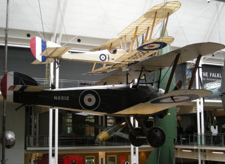 World War 1 Sopwith Camel and BE 2 at the Imperial War Museum in London.