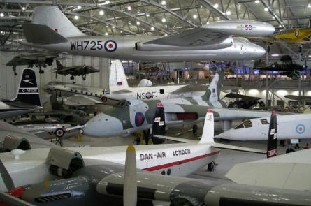 """AirSpace"" hall at Duxford. A Vulcan in the centre, Canberra at the top, TSR-2, Harrier and many other aircrafts."