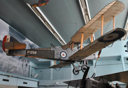A British World War I aircraft displayed at the Le Bourget Museum of Air & Space in Paris.