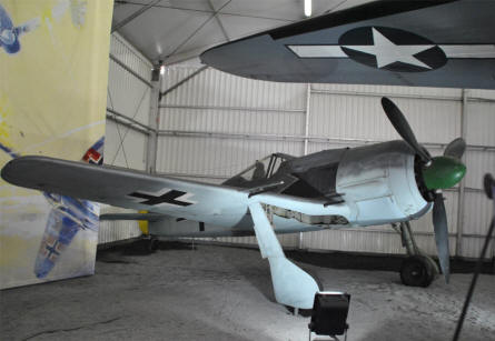 A German World War II Focke-Wulf FW-190 fighter displayed at the Le Bourget Museum of Air & Space in Paris.