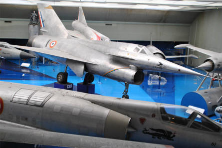 Some of the many French jet prototypes displayed at the Le Bourget Museum of Air & Space in Paris. In the centre a Nord 1500 Griffon from the mid-1950s.