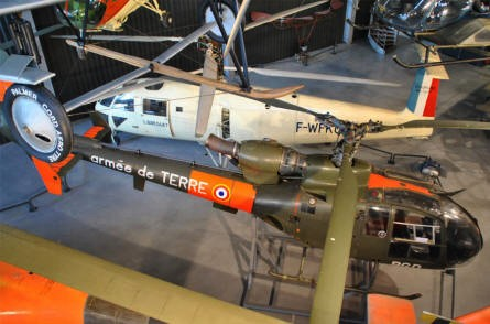 Some of the helicopters displayed at the Le Bourget Museum of Air & Space in Paris.